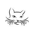 black cat sitting smiling logo design template vector image vector image