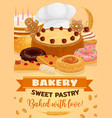 bread and cake bakery and pastry shop food vector image vector image
