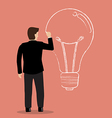 Businessman drawing lightbulb on wall vector image vector image