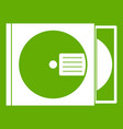 cd box with disc icon green vector image vector image