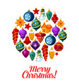christmas ball with xmas ornaments greeting card vector image