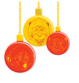 Christmas balls with a picture of a monkey vector image vector image
