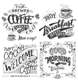 Coffee and cocoa for breakfast hand lettering set vector image