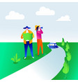 couple looking for car rental vector image vector image