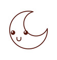 Cute moon kawaii character vector image