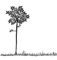 Cute tree silhouette vector image