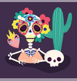 day dead skeleton flowers skull cactus and vector image vector image