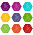 dinosaur lizard icons set 9 vector image vector image