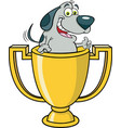 dog inside a trophy cup giving thumbs up vector image vector image
