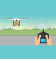 drone delivery concept drone carrying cardboard vector image