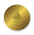 ethereum golden coin vector image vector image