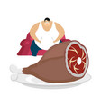 fat guy is sitting on chair and pork glutton vector image