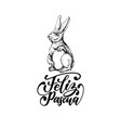 feliz pascua translated from spanish handwritten vector image vector image