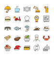 filled outline restaurant and food icons vector image vector image