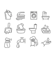 flat cleaning icons vector image vector image