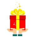 gift surprise in hands vector image vector image