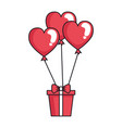 giftbox with heart shaped party balloons vector image vector image