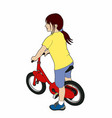 girl on a red bike vector image vector image