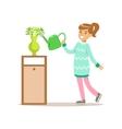 Girl Watering Home Plants Smiling Cartoon Kid vector image vector image