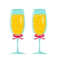 Glasses of champagne icon flat design Isolated vector image