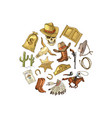 hand drawn wild west cowboy elements in vector image