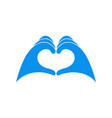 hands in blue latex glove shows heart symbol vector image