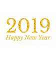 happy new year 2019 golden text low poly design vector image