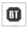 initial letter bt logo template design vector image