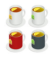 isometric set of multicolored ceramic cups vector image vector image