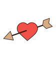 love heart pierced arrow valentine day romantic vector image