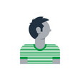man side view turned head boy in striped t-shirt vector image vector image