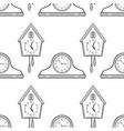 mantel clocks and cuckoo clock black and white vector image vector image