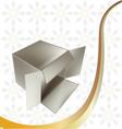 metallic gift box vector image vector image