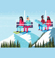mix race couples skiers on chairlift ski resort vector image vector image