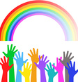Multicolored hands on background of the colorful vector image vector image