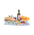 napkin open bottle wine bread grapes picnic vector image