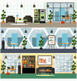 office interior flat poster set vector image