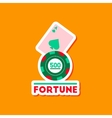 paper sticker on stylish background poker Fortune vector image