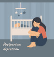 postpartum depression tired woman sits near baby vector image vector image