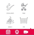 Pram carriage spoon and drops icons vector image vector image