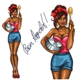 Pretty housewife with pot and spoon vector image