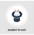 Rabbit in magician hat icon flat vector image
