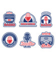 radio show badges air podcast audio studio logo vector image vector image
