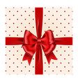 red ribbon bow with gift box isolated on wh vector image vector image