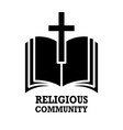 religious community emblem with holy bible and vector image