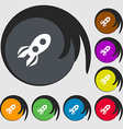 Rocket icon sign Symbols on eight colored buttons vector image