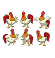 rooster set with cartoon style vector image vector image