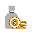 Sack with coins money isolated icon