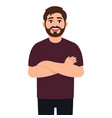 self confident bearded man the guy put his hand vector image vector image