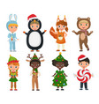 set of cute kids wearing christmas clothes vector image vector image